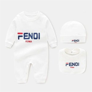 Cotton Baby Rompers+Hat +Bibs 3pcs Sets Cartoon Boys Girls Jumpsuit Infant Costumes Newborn Body Baby Clothes