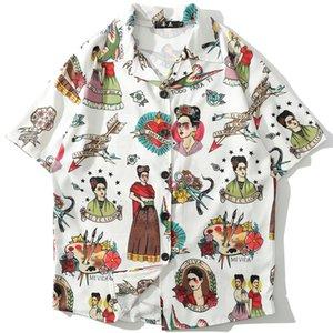 Mens Рубашки Повседневный Vintage Отпечатано с коротким рукавом Streetwear лето пляж Мода Свободные рубашки Мужской дышащий Топы