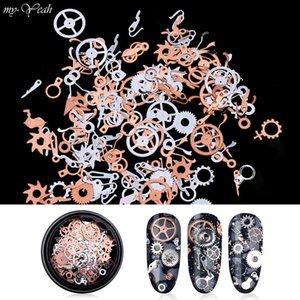 5Box Nail Art ultra-mince vitesse de temps vapeur Charm Flakes Steampunk mécanique Roue métal bricolage Paillettes Accessoires Décoration