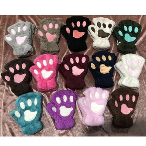 Winter Fluffy Plush Gloves Mittens Paws Gloves Women Girl Children Cosplay Cat Bear Paw Claw Half Finger Glove 14Colors Christmas Gift