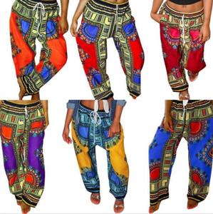 Dashiki Bohemia Pantolon Dijital Baskılı Gevşek Uzun Pantolon Afrika Vintage Ankara Pantolon Yaz Pocket Casual Artı Geniş Bacak Pantolon C662