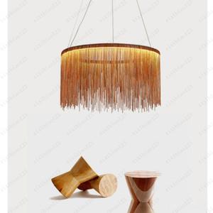 Modern designer lighting Nordic tassel chandelier LED dining room  bar table lamp aluminum chain atmospheric living room lamp