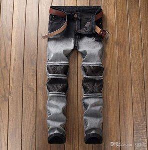Erkek soldu Pileli Düz Bacak Jeans Slim Fit Tasarımcı Biker Düz Kot Kalem Pantolon Streetwear DYL6613 panelli Fold