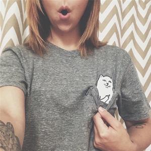 Sommerfrauen T-Shirt Tasche Katze Shirt Mode zsiibo neue Kleidung Frauen Casual Druck Damen-lustige Kleidung Hip-Hop-Stil nvtx09