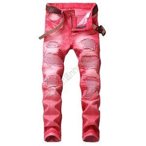 Jeans di alta qualità a colori skinny impiombato uomini di modo di stile nuova moda del jeans strappati High Street Distrutto Biker Uomini Mt011