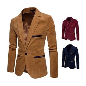 2018 Corduroy Lazer Magro Homens de Moda de Nova paletó alta qualidade Blazers Casual Jacket E Custo Men único botão X03