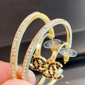 Spring and summer fashion circle square diamond earrings luxury custom imported brass with S925 sterling silver needle set diamond new earri
