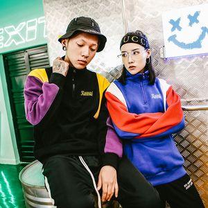 Primera marca Harajuku bloque del color de la camiseta Pullover Streetwear hombres Hip Hop con capucha de la vendimia medio-Zip algodón de abrigo de invierno otoño