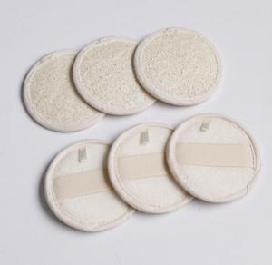 Forma redondo natural de lufa cojín trasero del cojín Esponja del baño de ducha 8cmx8cm Cara Cuerpo Exfoliante Baño Pad