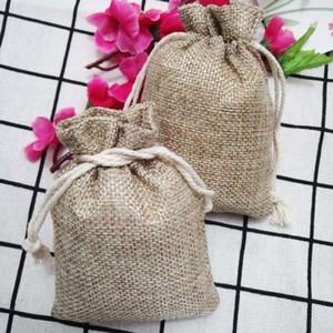 Hot 100pcs Jute Gift Bags 7x9 9x12 10x14cm Natural Burlap Hessia Jewelry Pouch Jute Gift Bags Jewelry Packaging Wedding Bags T200602