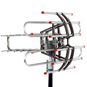 Venta caliente HD TV Antena 360 ° Rotación UV doble segmento 45-860MHz 22-38DB Antena exterior 110V Amplificación de señal Antena