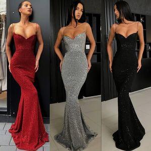 2020 Sexy Dark Gray Prom Vestidos cheio de lantejoulas Spaghetti Correias Mermaid longa noite Vestidos Mulheres Partido barato vestido BC0274 2174
