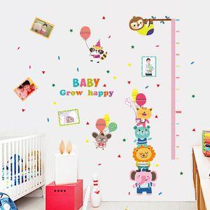 Cartoon Aufkleber für Kinder Kinderzimmer Wandaufkleber Messung Baby Kindergarten bunte Tiere und Katzen Baum Foto