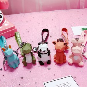 Fashion Lovely Keychains for Girls Silicone Acrylic Geometric Cartoon Animals Unicorn Wholesale Key Rings For Bag Car Key