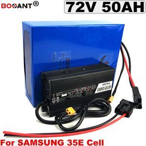 Para Samsung 35E 18650 72v 20Ah 30Ah bicicleta eléctrica 35AH bateria 40AH 50ah bateria de lítio 72v 3000w 5000w com 5A Carregador