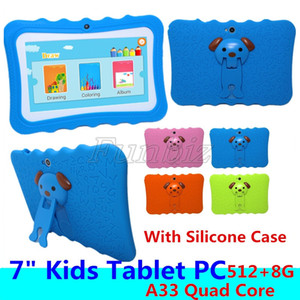 Günstige Kinder Tablet PC 7 Zoll Allwinner A33 Quad Core 512 8GB Kinder Tabletten Android 4.4 wifi große Lautsprecher + Silicone Fall Geschenk
