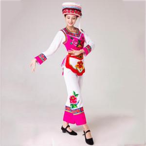 Asien Blume bestickte Kleidung Hmong Frauen tanzen Kostüm Festival nationalen Leistungsklage Baumwollleinenkleid Miao Stadiumsabnutzung