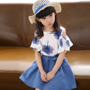 Niñas Falda de verano Ropa para niños Marca Chica Maple Print Top + Bow Tie Falda 2 piezas Fiesta infantil Set 4-14ages Ropa para niños Y190518