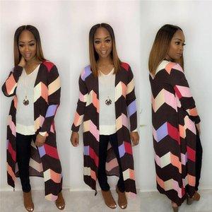 Mulit Farben Striped Panelled Womens Designer Jacken Mode lose lange Frauen Cardigan Mäntel beiläufige Frauen Kleidung