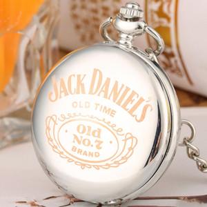 Chic Silver Jack Daniel's Large Pocket Watch Men Women Fashion Fob Watches Exquisite Men Quartz Pendant Clock