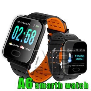 Tela A6 Pulseira relógio inteligente Toque IP67 Resistente à água Smartwatch inteligente Pulseira Monitor de esporte que funciona com pacote