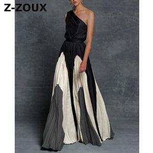 Z-zoux mujer vestido un hombro color a juego maxi vestidos de cintura alta plisado vestido bohemio plateado más tamaño damas vestidos