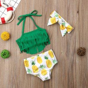 Hirigin Baby Bikini 2019 Baby-Kind-Badebekleidung Quasten Obst Pritned Schwimmanzug mit Stirnband-Free 3-teiliges Set Bademode