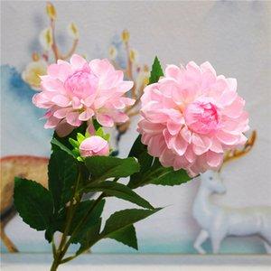 5 Pcs / Lot Artificielle 3 têtes dahlia Soie Fleur Fond mur De Mariage Décoration haut de gamme salon décoration de la maison Guirlande Faux fleurs