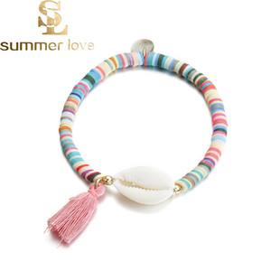 Fashion White Shell Elastico Nappa Braccialetto di fascino Bohemian Colorful Polymer Clay Beaded Bracciali per le donne Gioielli fai da te Fare regalo