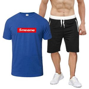 Men's Tracksuits Fashion Box Logo Mens Casual T-shirt + Zipper Shorts Brand Two-piece Suit Male Active Thin Leisure Suits Size S-2XL