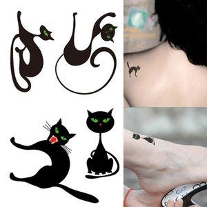 Hot 1PC Popular Ballet Black White Flowers Tattoos Sticker Halloween Lovely Cat Art Cat Kitty Fake Water Transfer