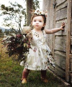 여자 아이의 의류 드레스 민소매 라운드 칼라 전체 플라워 프린트 소녀 여름 로리타 공주 드레스