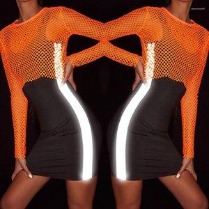 El tanque del verano del vestido ajustado de 3M reflectante diseñador sin mangas de los vestidos de las mujeres Negro