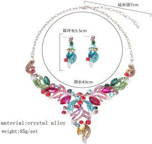 pendientes de colores collar de flores joya vestido de novia set de la jewelryset cristal de diamante de imitación