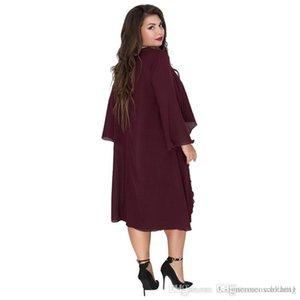 6xl Frauen Sommer Designer Mode Kleid mit Rundhalsausschnitt Ashymmetrical Batwing Kleidung Polyester Chiffon beiläufige lose Kleidung