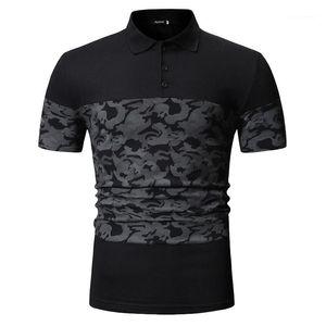 Mode manches courtes Polos Lapel Neck Hommes Polos hommes Vêtements décontractés Camouflage Imprimer lambrissé Mens Designer