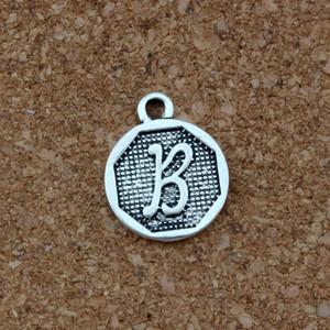 """رسالة مزدوجة من جانب """"B"""" سبائك السحر الأولية العتيقة الفضة المعلقات الأزياء والمجوهرات DIY 100pcs التي 14.8x28.2MM / الكثير A-409"""