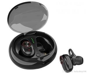Auricular Bluetooth con caja de carga de micrófono V5.0 Auriculares EDR Sonido estéreo V5 Doble auricular inalámbrico Manos libres Estéreo Música Llamada TWS Auriculares