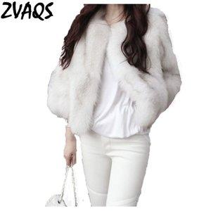 ZVAQS Mulheres elegantes Outono Inverno Faux Fur Coats feminino curto fino casaco de pele O pescoço Fluffy Sobretudo Casaco Feminino ST017