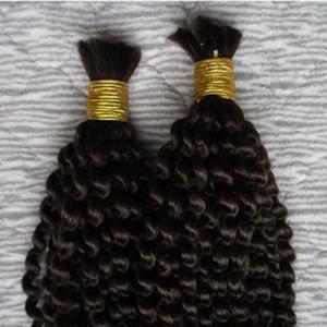 Монгольские курчавые фигурные навальные волосы 2 Связки человеческих волос для плетения навалом не прикрепления 200G не утка человеческих волос навалом для плетения