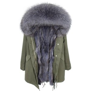 2020 long winter jacket women outwear thick parkas raccoon natural real fur collar coat hooded real warm fur liner big size