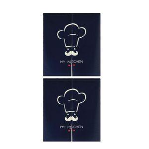 2x Chef de ~ Noren japonais suspendu court rideau en lin Doorway Confidentialité Tapisserie 85x90cm