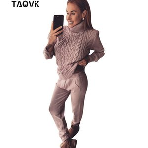 TAOVK Woman Suits Wool Warm Knitted Sets Turtleneck Twist Sweater+pant two piece Set Female Winter suit woman's Sport Costumes T190612