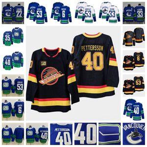 50 Vancouver Canucks 40 Elias Pettersson Brock Boeser Daniel Henrik Sedin Demko Bo Horvat Mavi Beyaz Siyah 2019/2020 Sezon Hokeyi Formalar