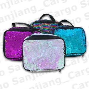 Mermaid Pailletten Mittagessen Taschen Regenbogen Pailletten Handtasche doppelte Schicht-Isolierung Insulated Cooler Bag Large Tote Picknick Food Storage Box E31202