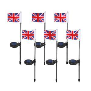 Uk Flag Solar Powered Garden Stake Light United Kimdom Flag Pathway Lights Solar Flag Lights With Metal Pole Stake