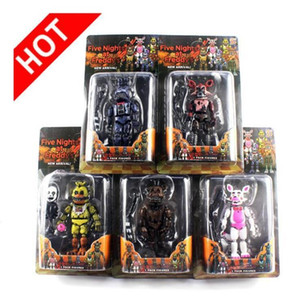 FNAF Naoshima Nightmare Freddy Chica Freddy Peut être assemblé des blocs de construction PVC Figurines d'action poupées modèle Jouets / Lot 5pcs
