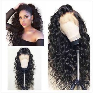 Дешевые сексуальные 180% плотность 1b# черный длинные кудрявый вьющиеся Glueless высокая температура волокна волос синтетические кружева передние парики натуральный волосяного покрова для женщин