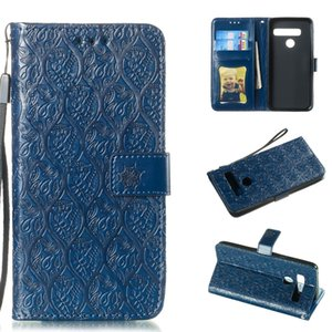 Pressed Printing Rattan Flower Pattern Horizontal Flip PU Leather Case for LG G8 ThinQ   G8S ThinQ, with Holder & Card Slots & Wallet & Phot