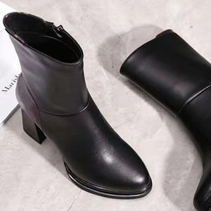 La venta caliente-Nueva alta calidad Martin botas mujeres de las señoras de las mujeres zapatos de tacón alto botas cortas del diseñador de moda con botas de cuero de banquetes